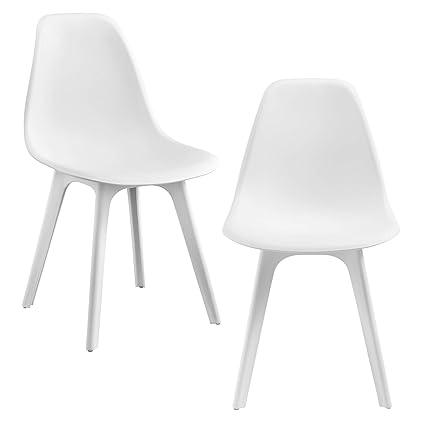 En Casa 2x Design Stuhl 83 X 54 X 48cm Weiss Esszimmer Stuhl Stuhle Kunststoff Im Skandinavischem Stil Mit Bodenschoner
