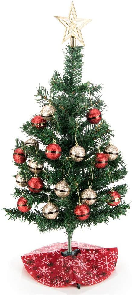 blitzlabs Tabletop Mini Christmas Tree with Gold top Star and Hanging Ornaments Snowflake Red Tree Skirt on Base, DIY Home and Office Artificial Christmas Decor 17''
