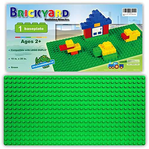 [Large 10 in. x 20 in.] Compatible Baseplate for Large Building Blocks by Brickyard, Green 10