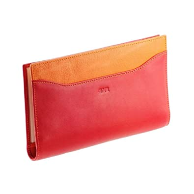 ea0e7e2fbe101 Ideale Tür chéquier N1547 Damen-Geldbörse Leder rot-Orange  Amazon ...