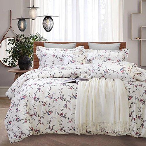 FADFAY Shabby Beige Floral Duvet Cover Set 100% Cotton Bedding Set With Hidden Zipper Closure 3 Pieces, 1duvet Cover & 2pillowcases (Full Size, Simple (Custom Comforter Sets)