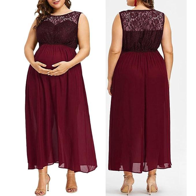 Allence Elegantes und Bequemes Umstandskleid Damen 2in1 Umstands gerafften Stillkleid Maxikleid Kurz /Ärmel Schwangerschaft Weste Kleid