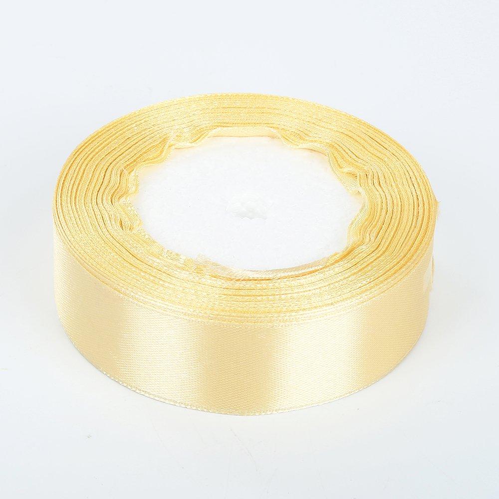 Muhan DIY 25yards 25mm-wide ribbons for Bows and Wreaths decorated Satin Edge Sheer Organza Ribbon Bow Craft Wedding (gold)