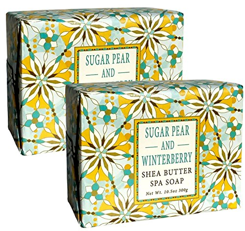 Greenwich Bay SUGAR PEAR WINTERBERRY Large Block Spa Soap Enriched with Shea Butter, Virgin Olive Oil and Pure Cane Sugar (Pack of 2) Pear Olive