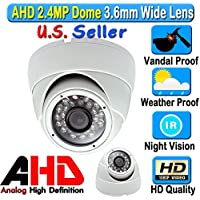 LEXA AHD 2.4MP 1080P Dome 1/2.9 Sony Sensor 3.6mm Wide Angle Lens Vandal Weather Water Proof New Technology μ14 x 18IRs 60FT Night Vision BNC Connection Outdoor CCTV White Camera