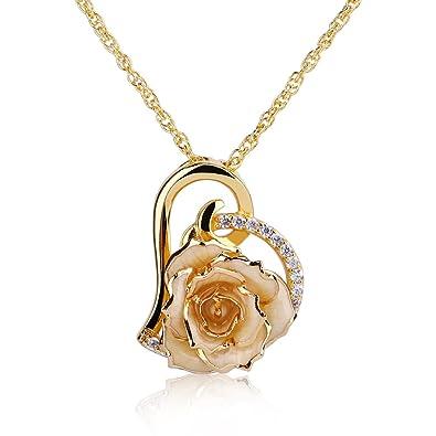 Zjchao Plaque 24k Or Rose Fleur Collier Avec Imitation De Diamant