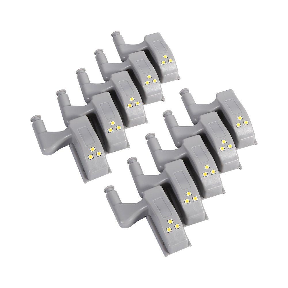 Yosoo Luz Nocturna de Armario con Sensor de Movimiento Luces LED de Noche Luz de Armario para Hogar Cocina Muebles 10 Piezas