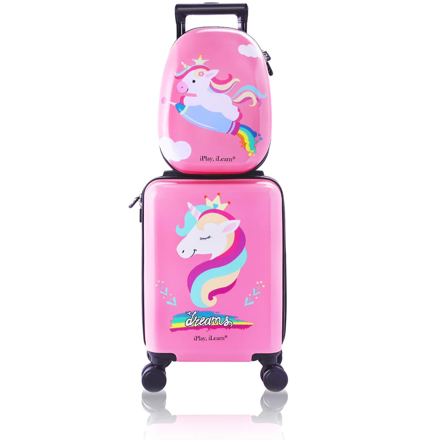 Unicorn Kids Carry on Luggage Set with Spinner Wheels, Girls Travel Suitcase by iPlay, iLearn