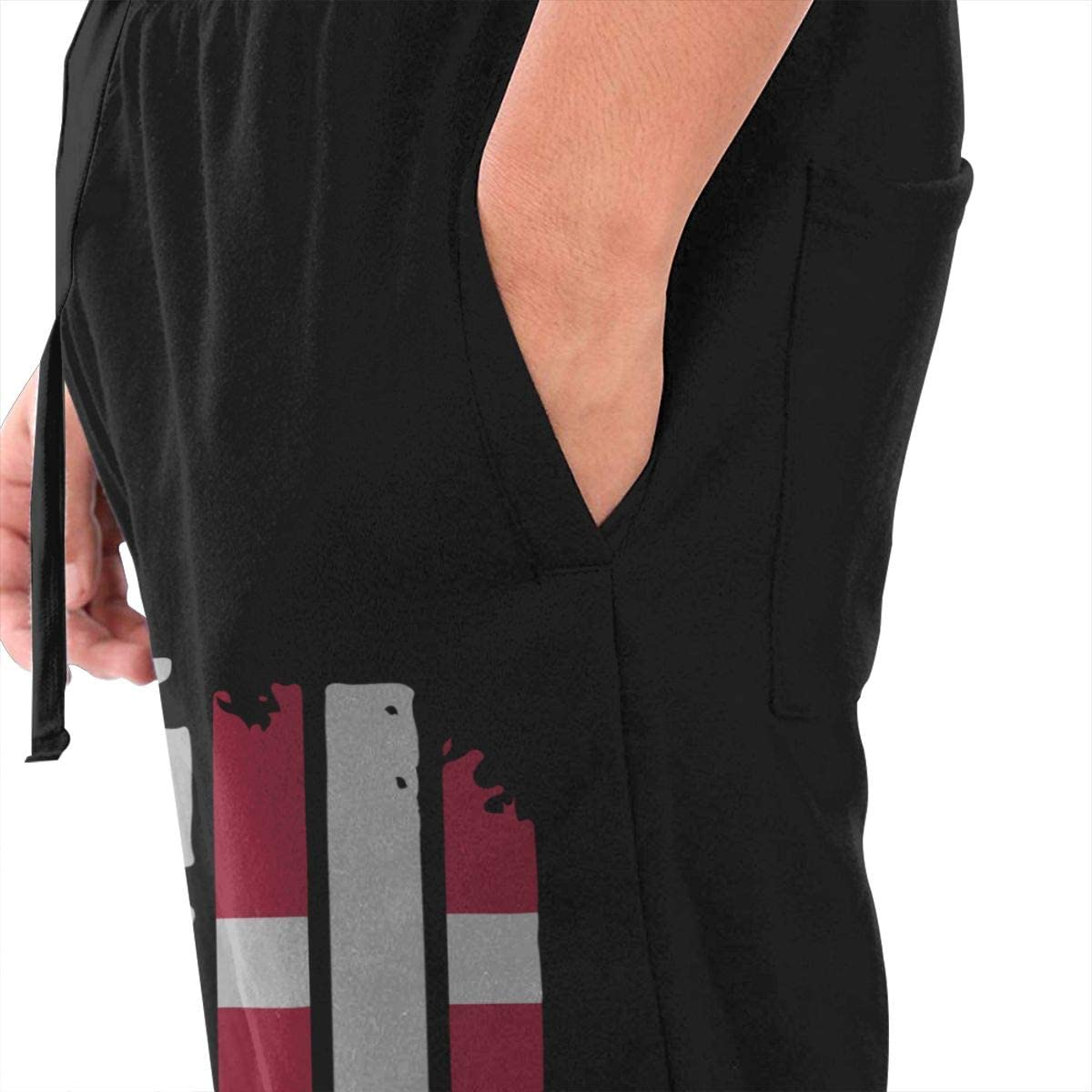 BibiQQgait Mens Jogger Sweatpants Danish American Flag Elastic Waist Fleece Sweatpants