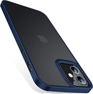 TORRAS Shockproof Compatible for iPhone 12 Case/Compatible for iPhone 12 Pro Case, [Military Grade Drop Tested] Translucent Matte Hard PC Back with Soft Silicone Edge Slim Protective Guardian, Blue