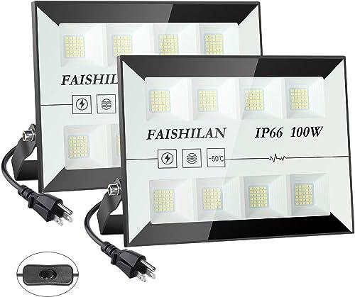 FAISHLAN Upgrade 2 Pack 100W LED Flood Lights, 500W Halogen Equivalent Led Work Light, Waterproof IP66 Outdoor Flood Lights, 5000K Super Bright LED Backyard Lights for Garage, Garden, Lawn and Yard