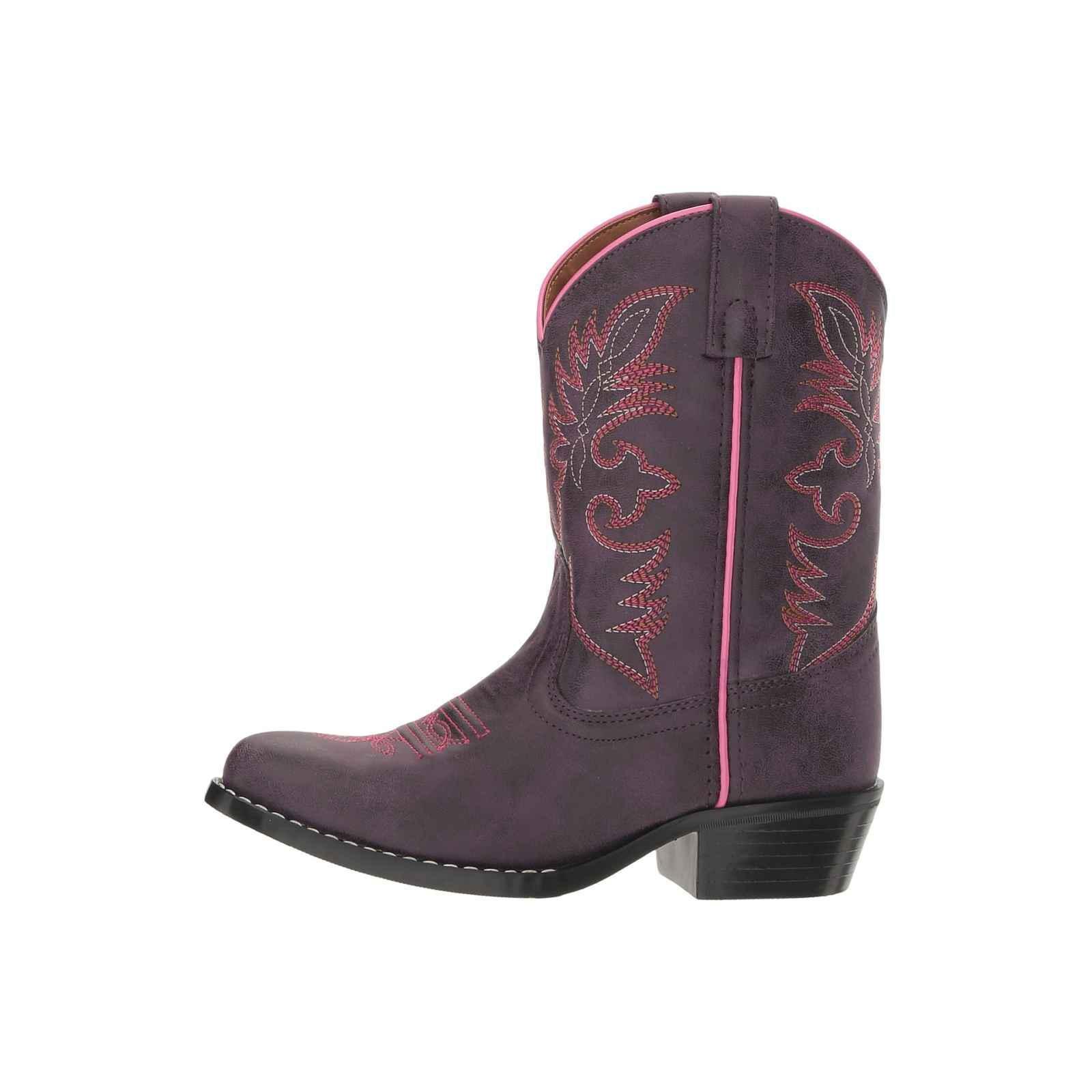 Laredo Western Boots Girls Leather Straps 11 Child Purple LC2457
