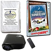 Christmas Digital Decoration Kit includes 800 x 480 Resolution Projector, 60 x 40 Kringle Brothers High Resolution Window Rear Projection Screen and AtmosCHEERFx Winter Wonderland on DVD
