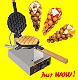 Puffle Waffle Maker Professional Rotated Nonstick (Grill / Oven for Cooking Puff, Hong Kong Style, Egg, QQ, Muffin, Cake Eggettes and Belgian Bubble Waffles) (110V, Puffle maker FY-6)