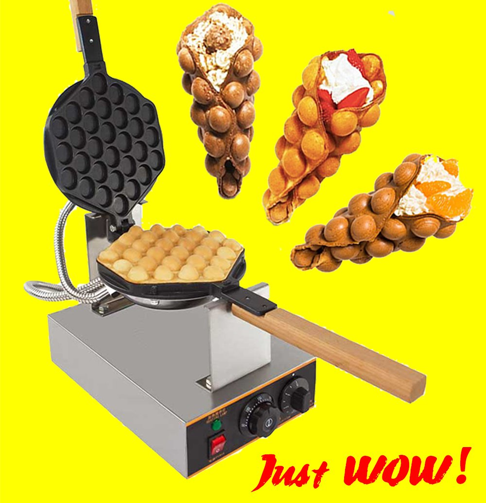 Puffle Waffle Maker Professional Rotated Nonstick ALD Kitchen (Grill / Oven for Cooking Puff, Hong Kong Style, Egg, QQ, Muffin, Cake Eggettes and Belgian Bubble Waffles) (220V EURO Plug)