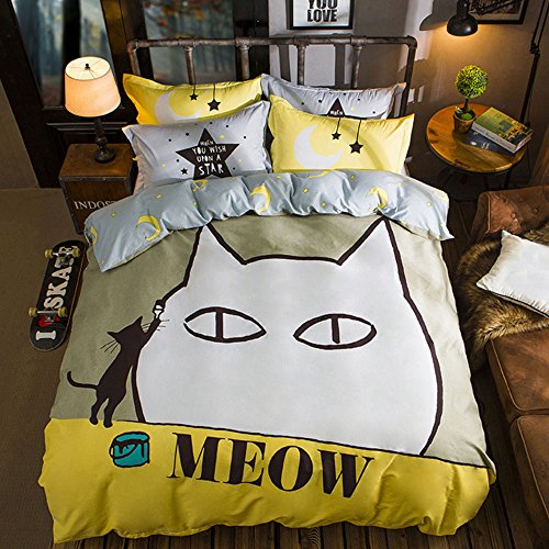 Cartoon Bedding Set 4 Piece Bedding Set Meow Printed Duvet Cover Set Cat Pattern Duvet Cover Bed Sheet and Pillowcases,No Comforter,Queen Size (High Monster Bedspread)