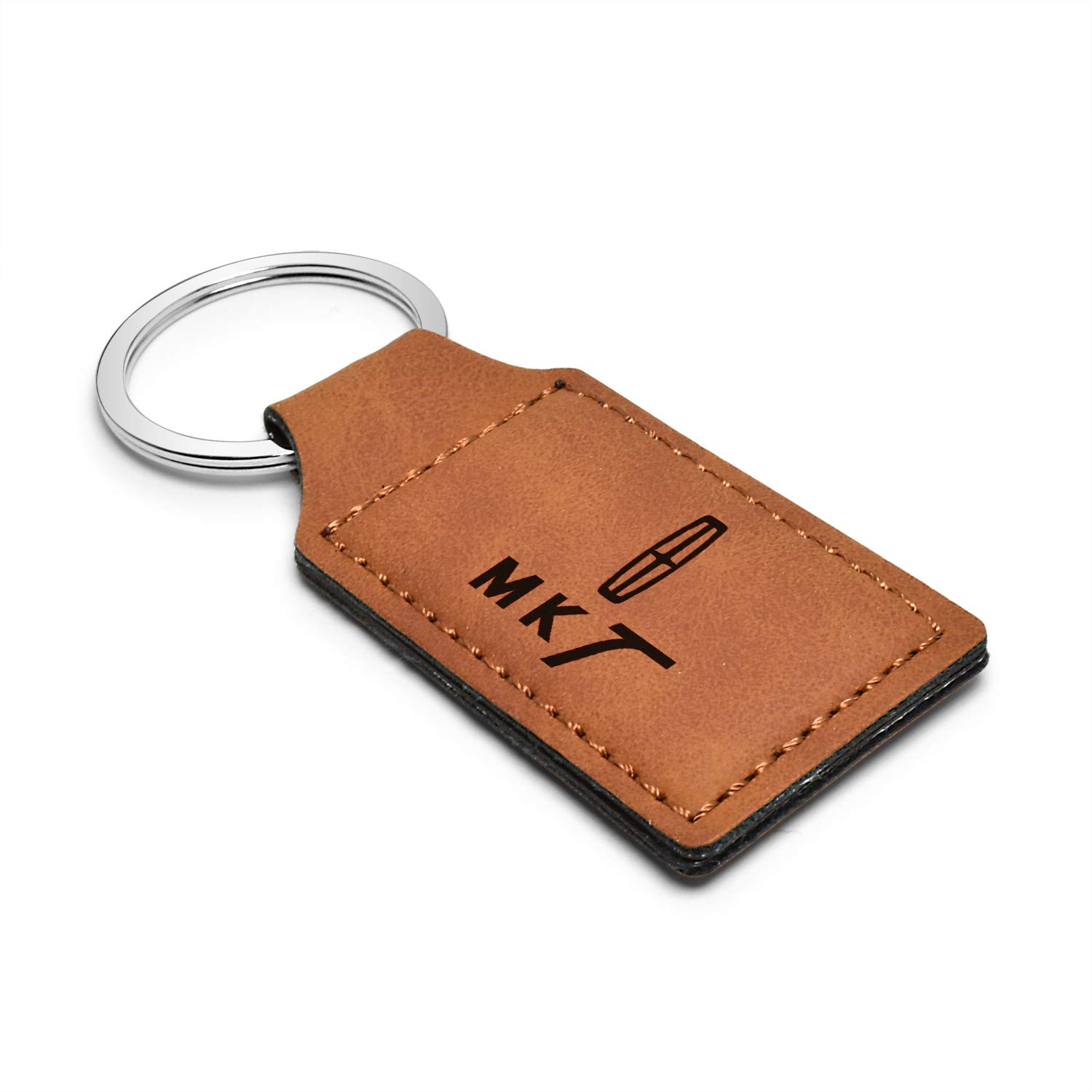 MKT iPick Image Lincoln Rectangular Brown Leather Key Chain