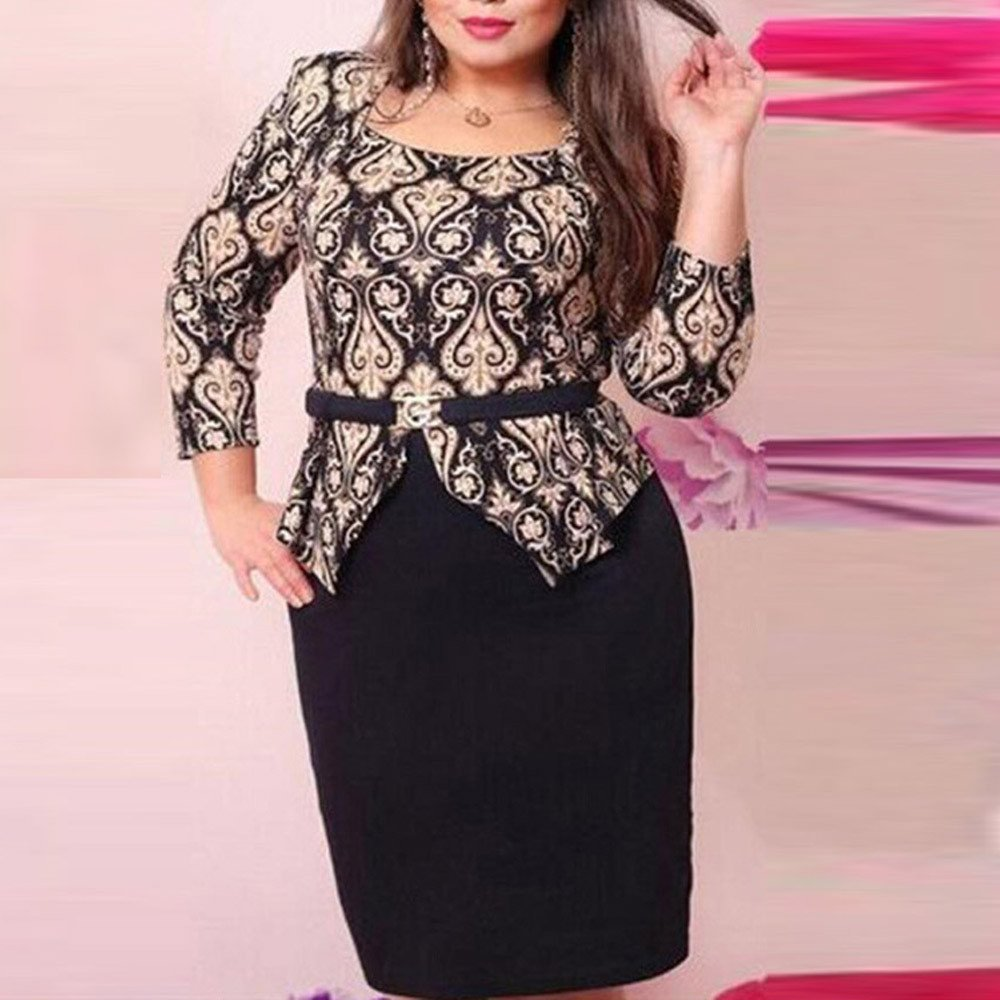 L-6XL Plus Size Womens Sexy Bodycon Dress 3/4 Sleeve Vintage Print Summer Evening Party Stretch OL Short Dress by LUCA (Image #2)