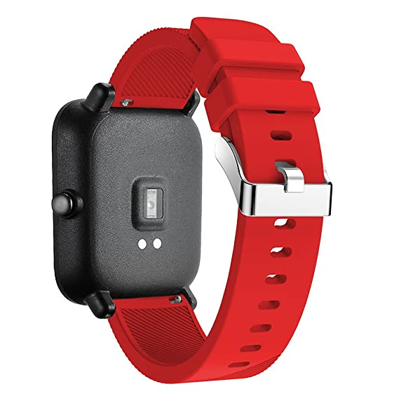 Silicone Strap Sports Band Xiaomi Huami Amazfit Bip Youth Smart Watch Band Replacement Bracelet Wrist Band Watch Strap (Red)