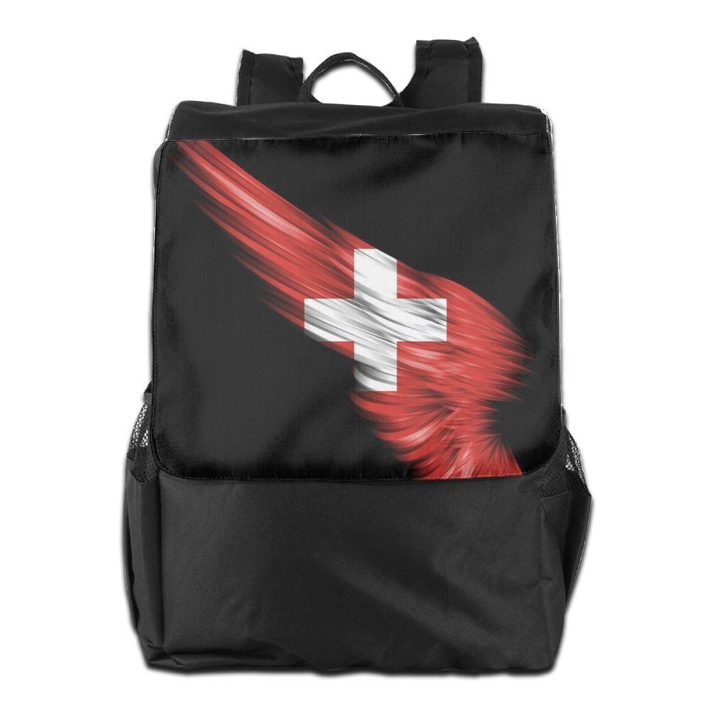 Nollm The Wings Of The Swiss Flag ファッションバックパック トラベルショルダーバッグ メンズ レディース ティーンズ One Size ブラック B07C78TT84