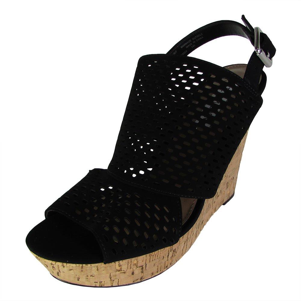 Steve Madden Womens Exhibit Slingback Platform Wedge Shoes B01NAH2ZOA 9 B(M) US|Black