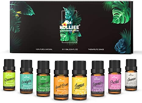 KOLLIEE Aromatherapy Essential Oils Gift Set 100% Pure Natural Scented Oils Kit for Diffusers Oils Sets 8x10ml Lavender Peppermint Lemon Sweet Orange