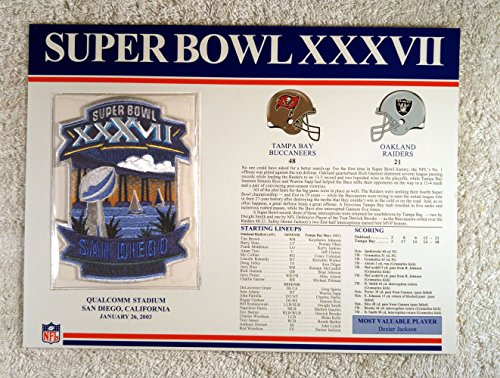 Super Bowl XXXVII (2003) - Official NFL Super Bowl Patch with complete Statistics Card - Tampa Bay Buccaneers vs Oakland Raiders - Dexter Jackson MVP - Dexter Patches