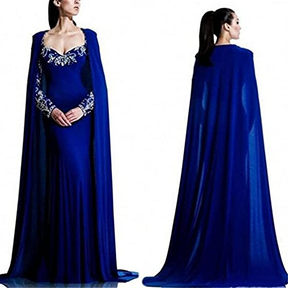 LEJY Women\'s Blue Mermaid Evening Dress With Cape Long Sleeve Prom ...
