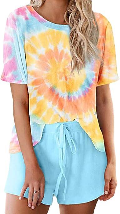 Yying Conjunto de Pijama Estampado Tie Dye para Mujer ...