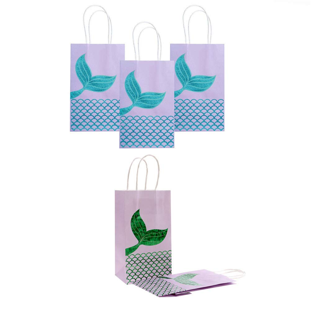 SUSHAFEN 12Pcs Mermaid Gift Bags Mermaid Party Favor Bags Paper Candy Boxes Cake Bags for Wedding Baby Shower Party Decoration Bags Kids Goodie Bags Flamingo Party Favors-Green,Blue