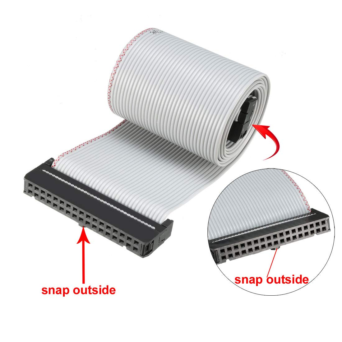 sourcing map IDC Gray Wire Flat Ribbon Cable 10 Pins 66cm Length 2.54mm Pitch 2pcs Type-C