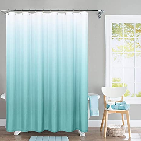 Amazon Com Jinchan Ombre Shower Curtain Turquoise For Bathroom Waterproof Gradual Color Design Fabric Shower Curtain Hooks Included With Rings 72 Inch Long One Panel Kitchen Dining