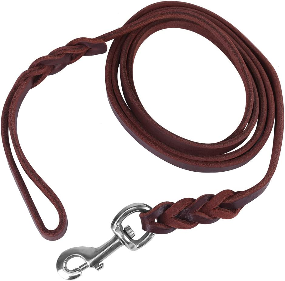 Smandy Correa de Perro de Cuero, Correa de Cuero de la Cuerda de Seguridad de la Correa del Plomo del Perro del Animal doméstico para Caminar el Entrenamiento Corriente(1.2m)