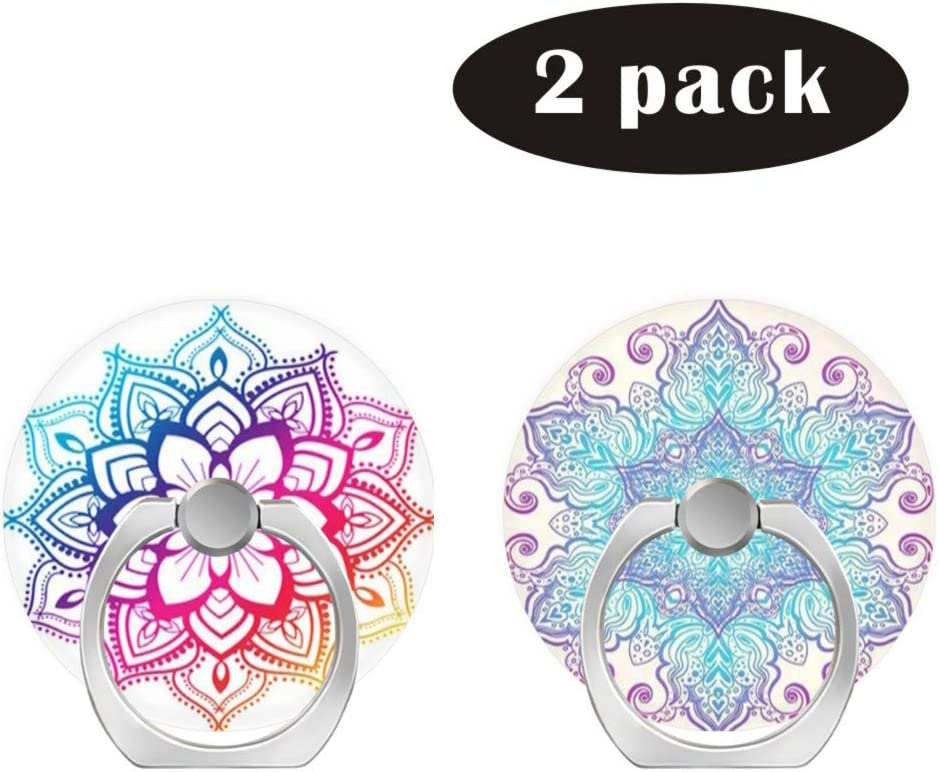 2 Pack//Cell Phone Ring Holder 360 Degree Rotation Finger Stand Works for All Smartphone and Tablets-Blue Pink Gold Mandala White Rose