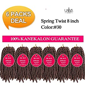 UNA Spring Twist Crochet Braids Bomb Twist Crochet Hair Ombre Colors Synthetic Fluffy Hair Extension (8″ 6Pieces, 1B#)