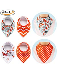 Set of 4 Large Cotton Baby Bandana Bib (16