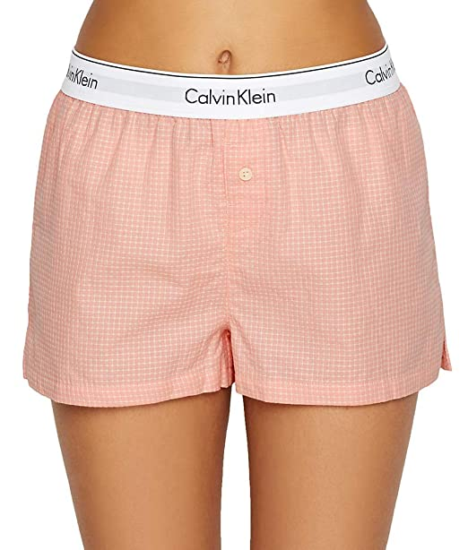 47be010e87c7 Calvin Klein Underwear Women's PJ Shorts, Woven Grid, Pink, Plaid, Large at  Amazon Women's Clothing store: