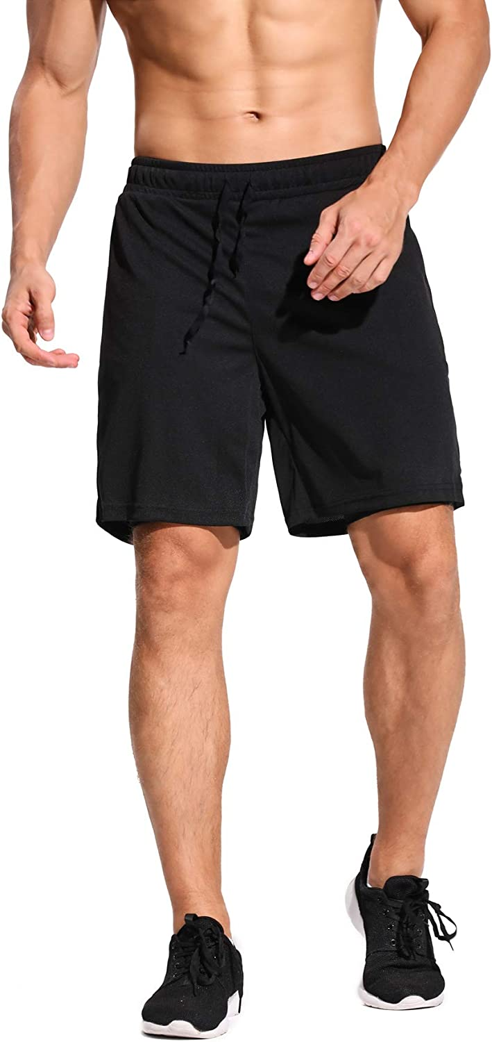 CLOUSPO 2 in 1 Mens Gym Shorts Running Shorts Sweat Jogger Shorts with Side Back Zipped Pocket Inner Workout Sports Shorts