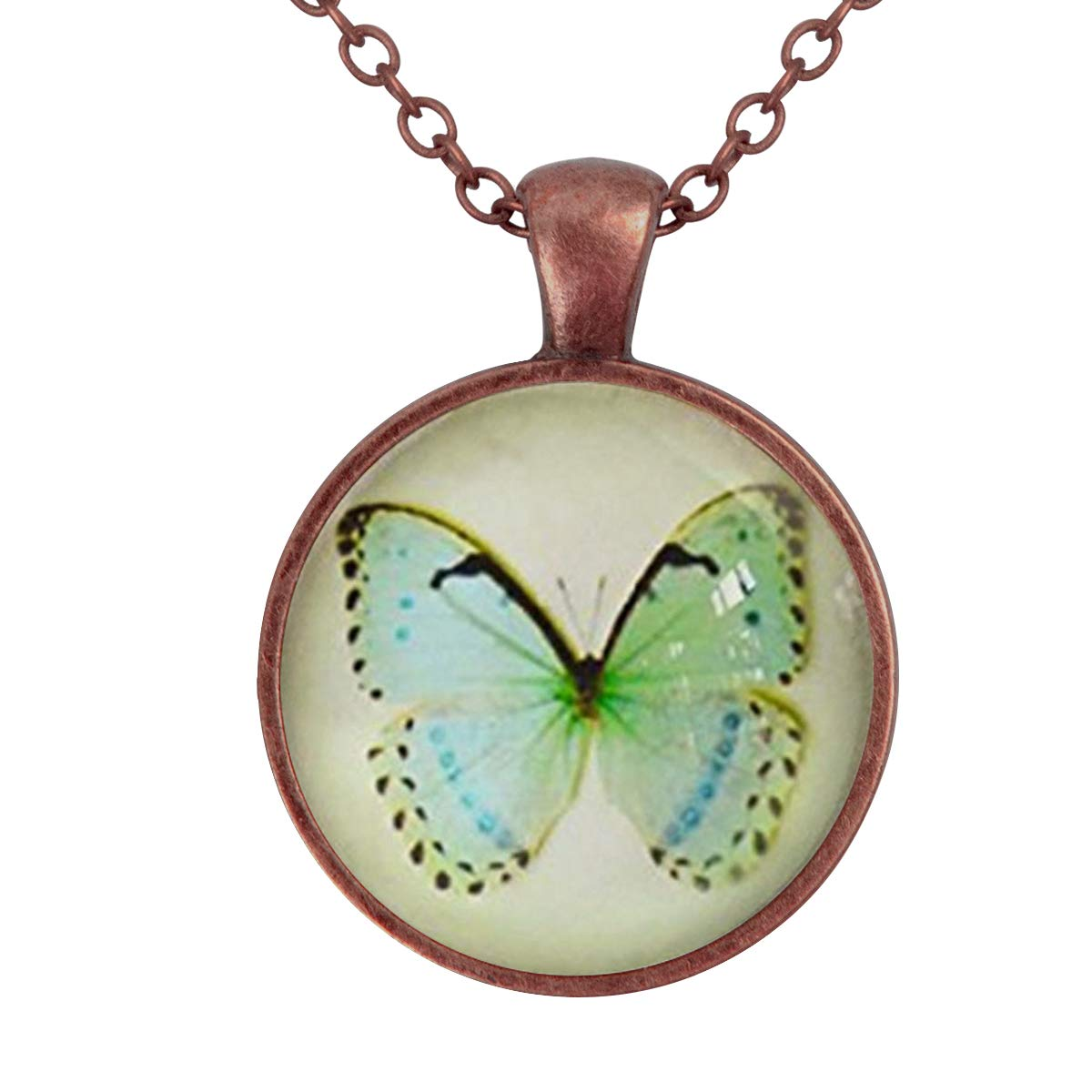 Family Decor Green Butterfly Pendant Necklace Cabochon Glass Vintage Bronze Chain Necklace Jewelry Handmade