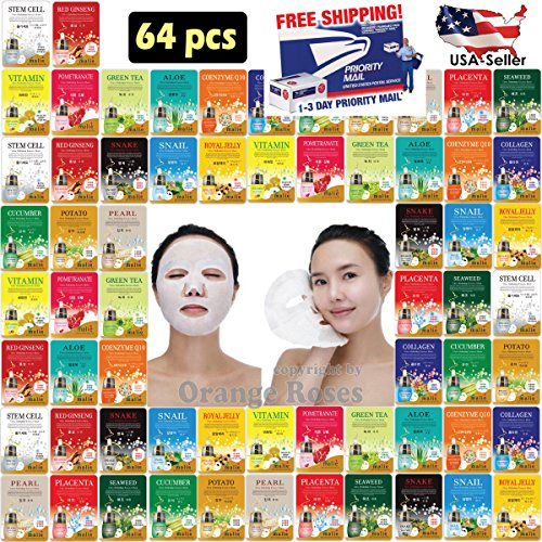 Price comparison product image [OBS lab] 64 pcs Ultra Hydrating Essence Mask, Korean Facial Mask Sheet ( 4 x 16 Types), Moisturizing Skincare