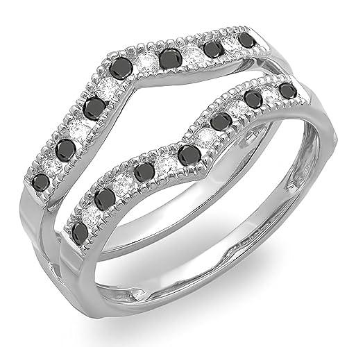 DazzlingRock Collection 0.45 Quilates (CTW) 10k Oro Negro Redondo y Diamante millgrain Protector de