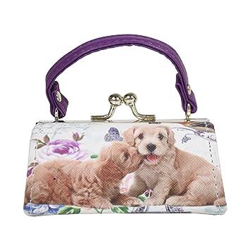 369f3cb83504 Dog Lover Lipstick Case with Handle Mini Mahjong Coin Purse - Purple