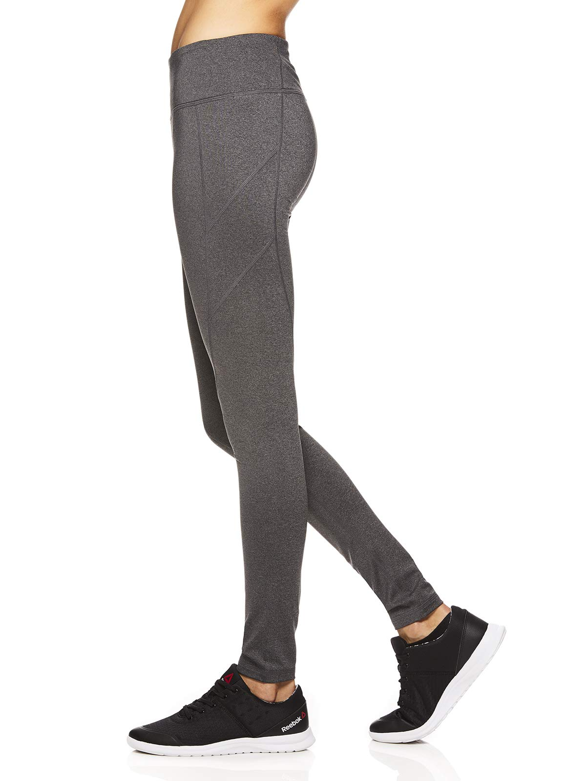 Reebok Women's Leggings Full Length Performance Compression Pants - Athletic Workout Leggings for Women for Gym & Sports - Charcoal Heather Seamed Grey, X-Large by Reebok