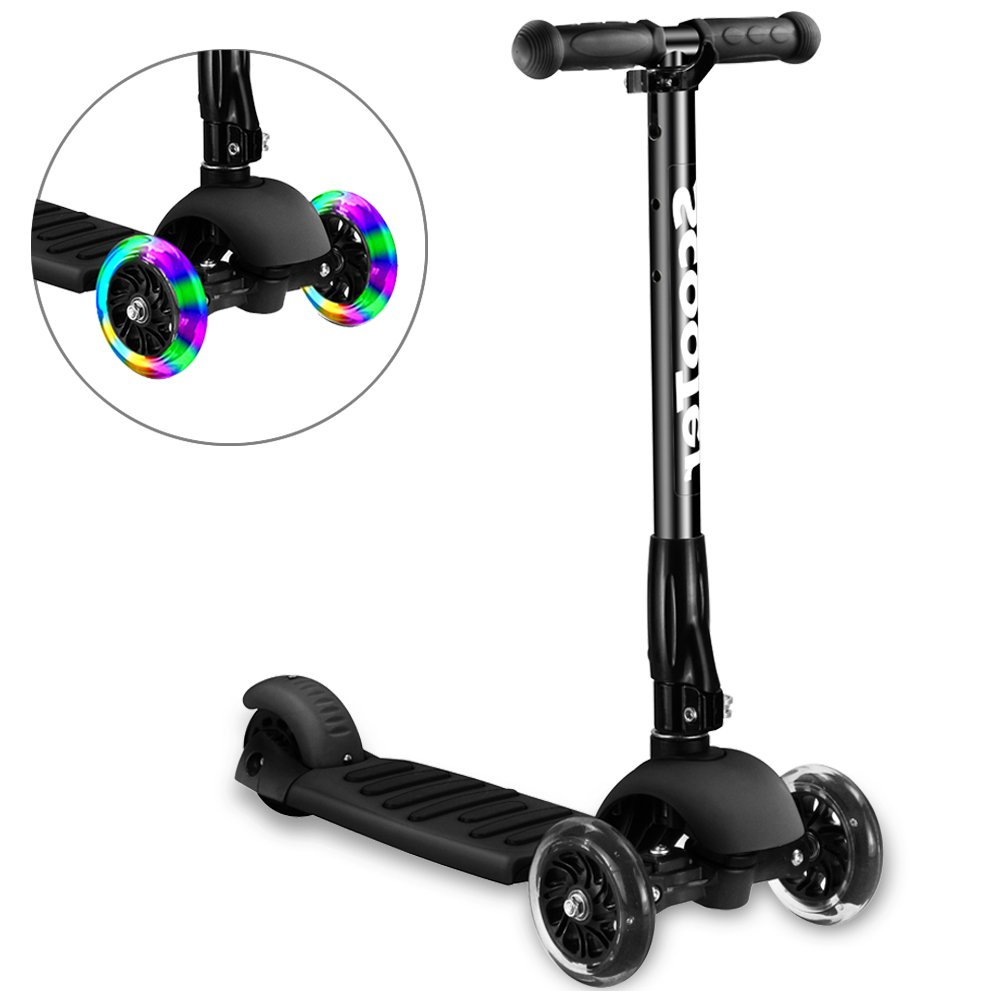 Greentest Scooter Foldable Adjustable Height Easy Turning 3 Wheel Kick Scooter for Kids Boys Girls with Flashing PU Wheels (Black) (Kids)