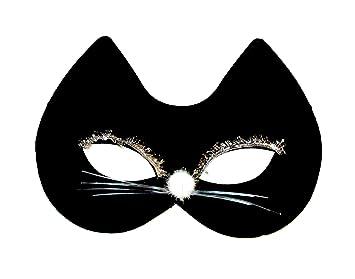 Womens Girls Black Felt Cat Face Fancy Dress Costume Mask - Black Cat by Queen of