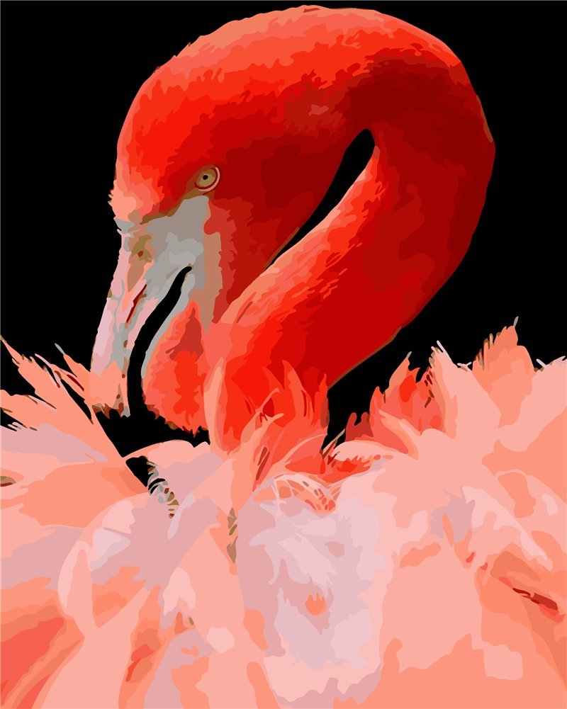 Flamingo paint by number paint by number for adults for Pre printed canvas to paint for adults
