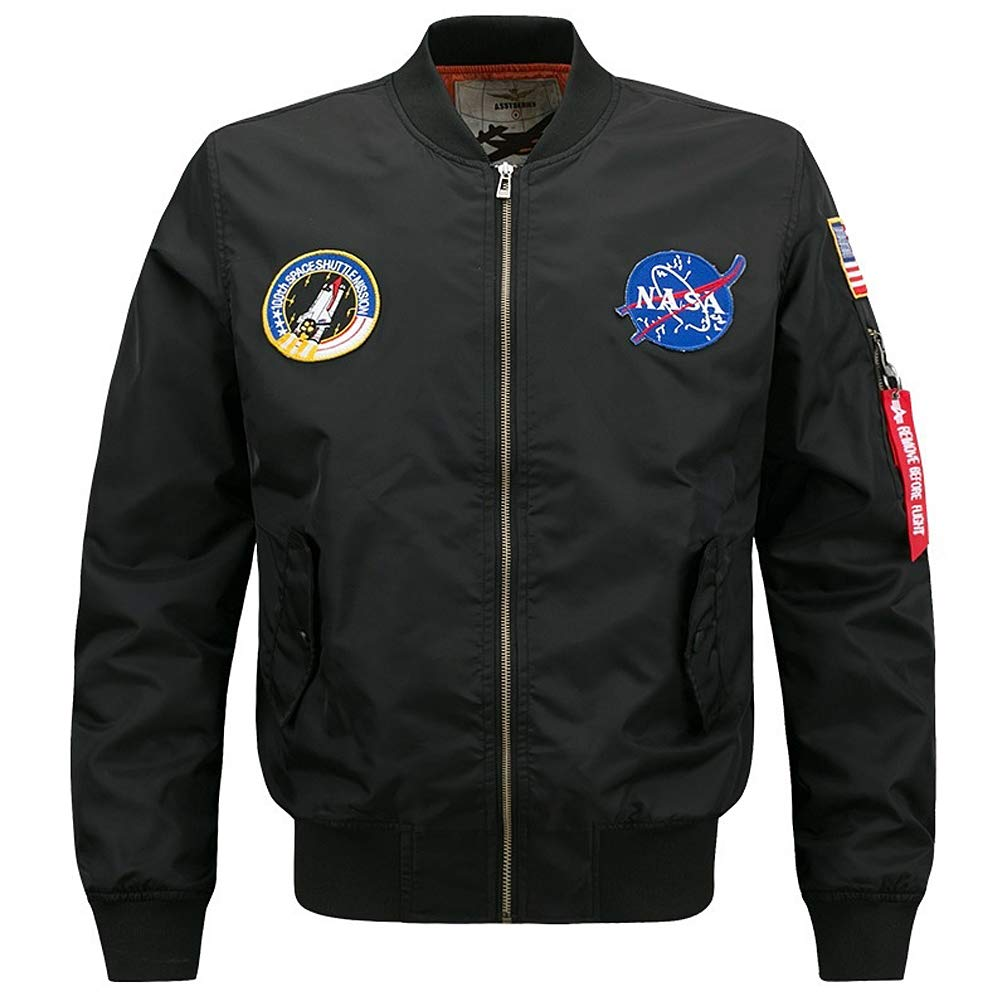 4e1a78860 Amazon.com: BOMBAX Mens MA-1 Slim Fit Flight Bomber Jacket NASA ...