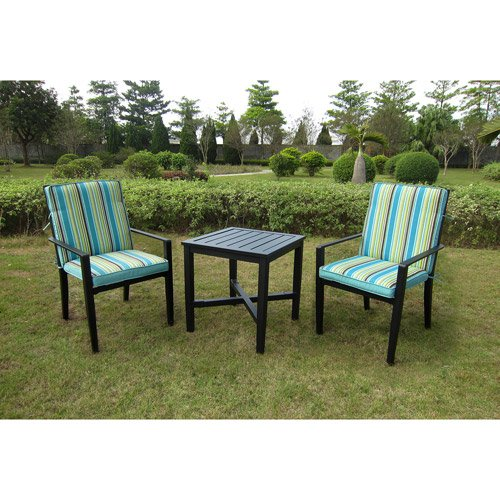 Cheap Mainstays Rockview 3-Piece Outdoor Bistro Set, Black, Seats 2