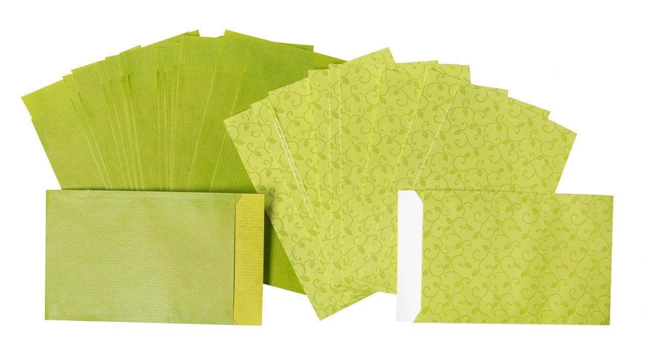 20pezzi SACCHETTI regalo verdi o sacchetti regalo (2Designs, ogni 10pezzi); piatta sacchetti carta in rosa; Taglia: 9,5x 14cm + 2cm linguetta; 1A qualità Jeanette Dietl