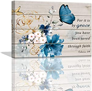 Butterfly Bathroom Decor Bible Verse Inspirational Wall Art Canvas Christian Home Decorations Blue Flower Prints Wall Pictures Artwork for Home Walls Grace Canvas Art Room Decor Framed 12x16inch
